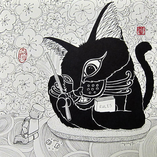 Lecturing, Pen and Ink Drawing by Ng Ling Tze