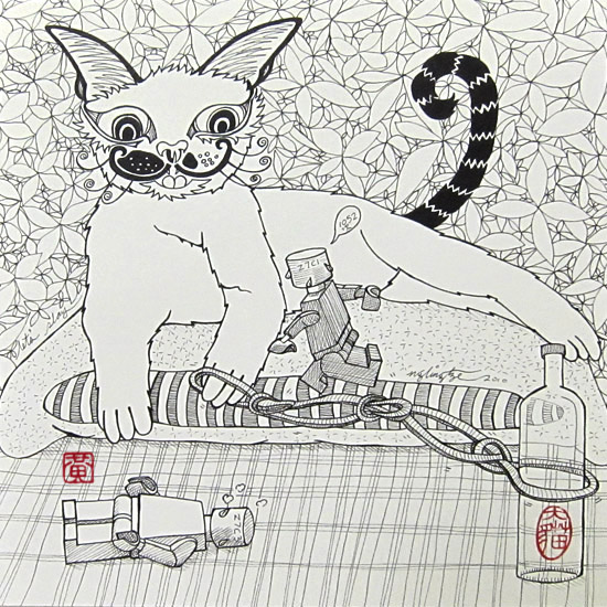 Let's Play, Pen and Ink Drawing by Ng Ling Tze