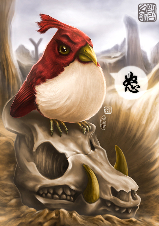 Angry Bird, Digital Painting by Terence Koh