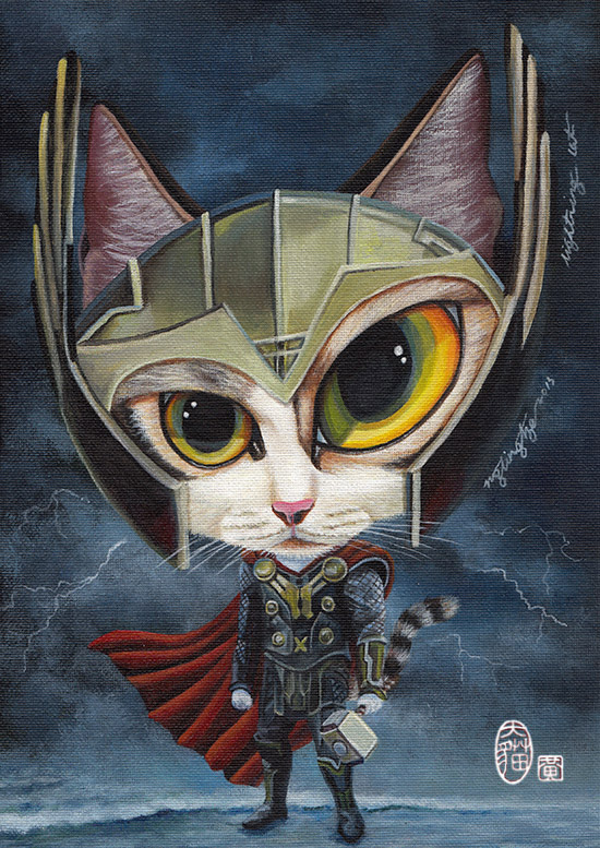 Lightning Cat, acrylic painting by Ng Ling Tze.