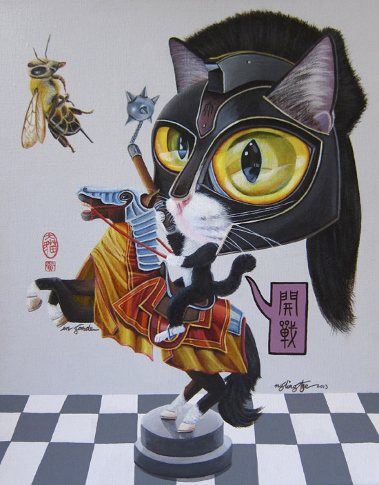 En Garde, Acrylic Painting by Ng Ling Tze