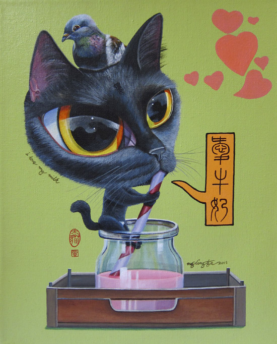 I Love My Milk, Acrylic Painting by Ng Ling Tze