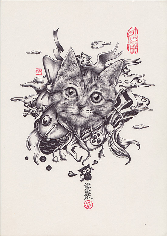 Meow Meow World, Pen & Ink Drawing by Terence Koh