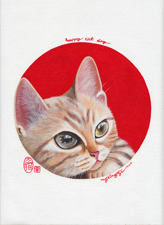 Happy Cat Day, Acrylic Painting by Ng Ling Tze