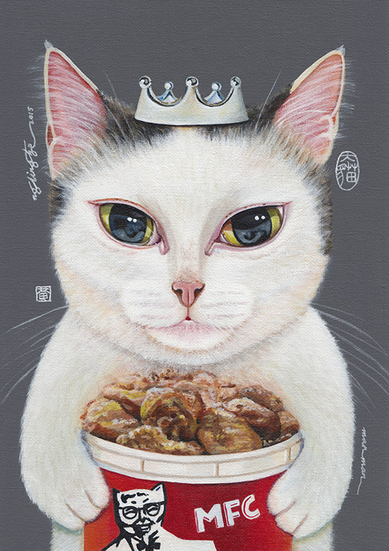 ManMan, acrylic painting by Ng Ling Tze.