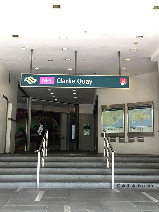 take train to Clarke Quay station (NE5)